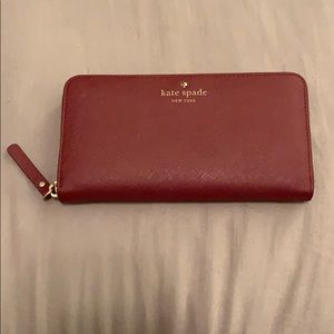 Kate Spade Zip Around Wine Red Wallet